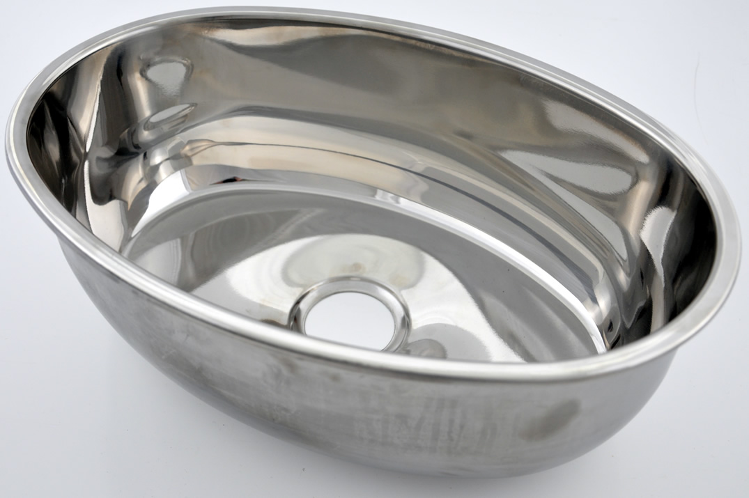 OVAL SINK STAINLESS STEEL 360 x 240 x 140mm deep insert flange.